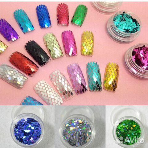 Ромбики на ногтях блестки