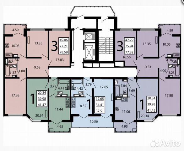 3-к квартира, 71.6 м², 3/17 эт.  89290111193 купить 2