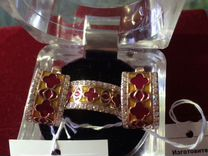 Серебро позолота кольцо18.5 р серьги