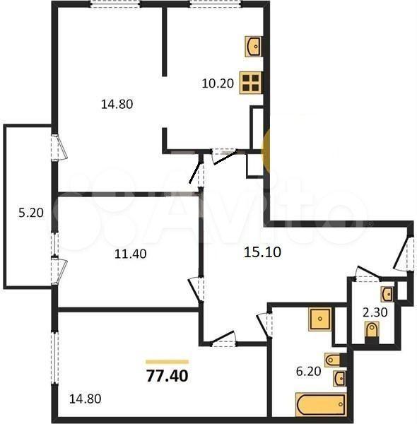 3-к квартира, 77.4 м², 4/6 эт.  89217122121 купить 1