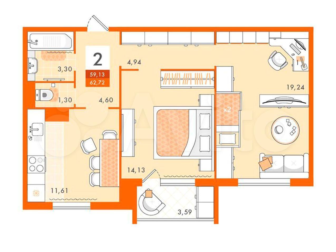 2-к квартира, 62.7 м², 4/5 эт.  89184364251 купить 1