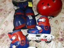 Роликовые коньки р 26-28, защита + шлем