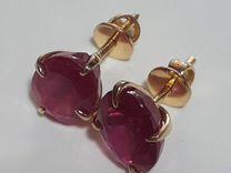 Золотые серьги с рубином