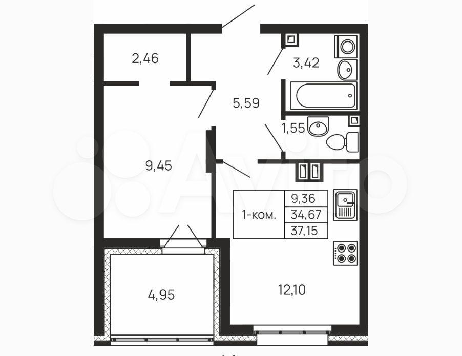 1-к квартира, 39.6 м², 5/19 эт.  89105921057 купить 1